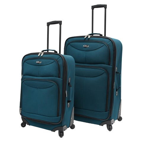 U.S. Traveler 2 Piece Expandable Spinner Luggage Set (Teal)