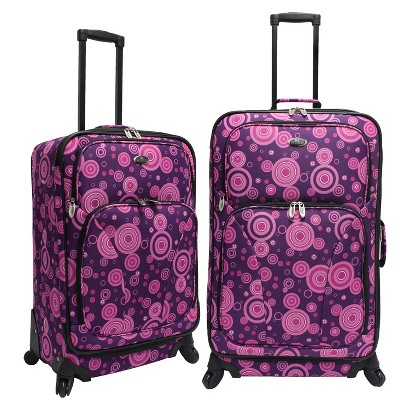 U.S. Traveler 2 Piece Polk Dot Fashion Spinner Luggage Set (Purple)