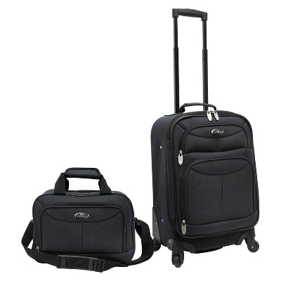 U.S. Traveler 2 Piece Carry-On Spinner Luggage Set (Charcoal)