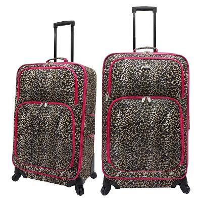 U.S. Traveler 2pc Spinner Luggage Set - Leopard Print