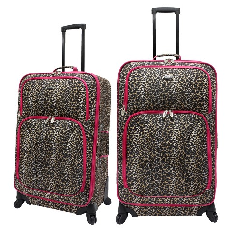 U.S. Traveler 2pc Spinner Luggage Set - Leopard Print
