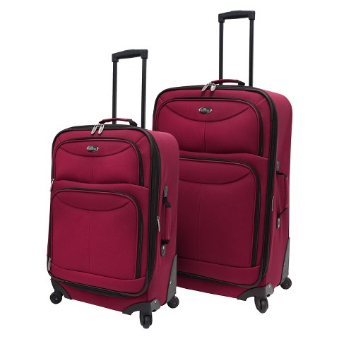U.S. Traveler 2 Piece Expandable Spinner Luggage Set (Maroon)