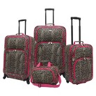 U.S. Traveler 4 Piece Leopard Print Fashion Spinner Luggage Set