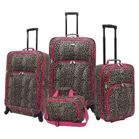 U.S. Traveler 4 Piece Leopard Print Fashion Spinner Luggage Set