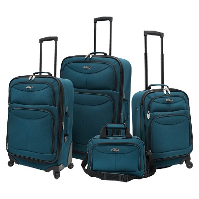 U.S. TRAVELER 4 PIECE EXPANDABLE SPINNER LUGGAGE SET (TEAL)