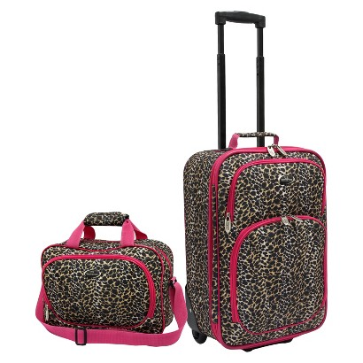 U.S. Traveler 2 Piece Leopard Print Fashion Carry-On Luggage Set