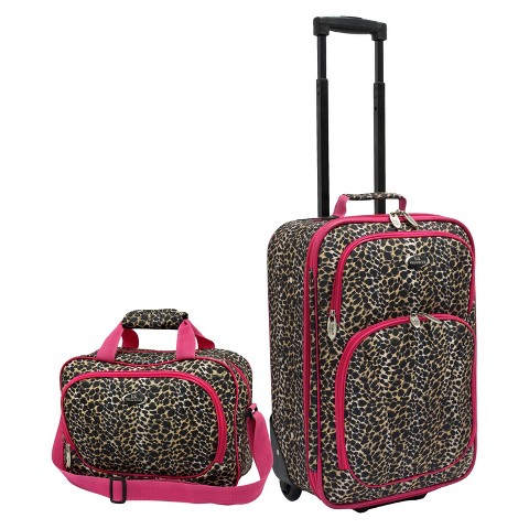 U.S. Traveler 2 Piece Leopard Print Fashion Carry-On Luggage Set