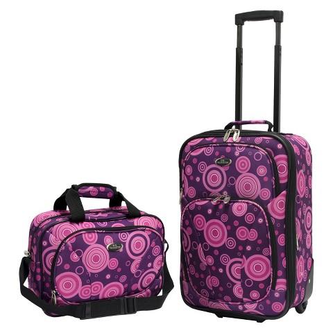 U.S. Traveler 2 Piece Polk Dot Fashion Carry-On Luggage Set (Purple)