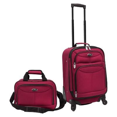 U.S. Traveler 2 Piece Carry-On Spinner Luggage Set (Maroon)