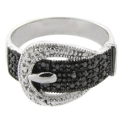 Black/White Diamond Buckle Ring - Size 7