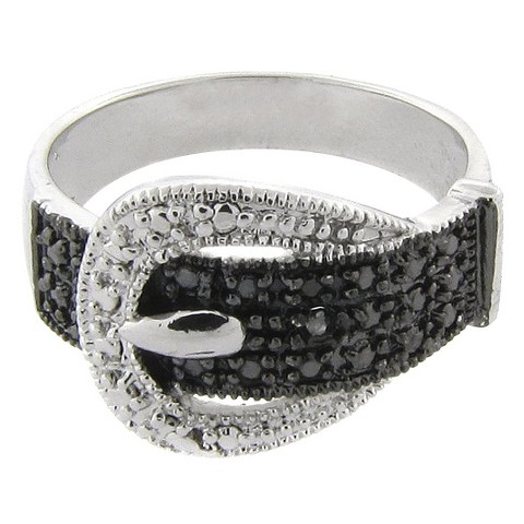 Black and White Diamond Buckle Ring - Size 7