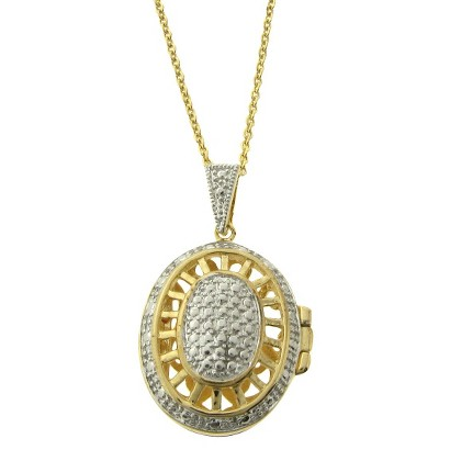 Diamond Accent Filigree Oval Locket