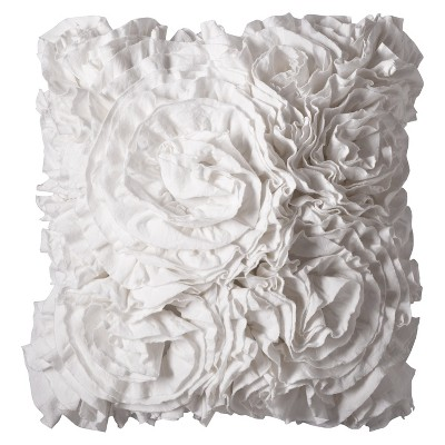 "Xhilaration™ Jersey Ruffle Decorative Pillow - Sour Cream (16x16"")"