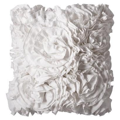 "Xhilaration Jersey Ruffle Decorative Pillow - Sour Cream (16x16"")"