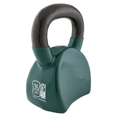 GoFit Contoured Kettlebell with DVD - Green (35 lbs)