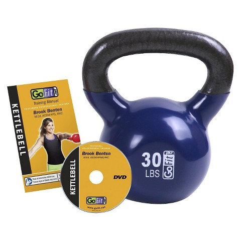 GoFit Kettlebell with DVD - Blue (30 lbs)
