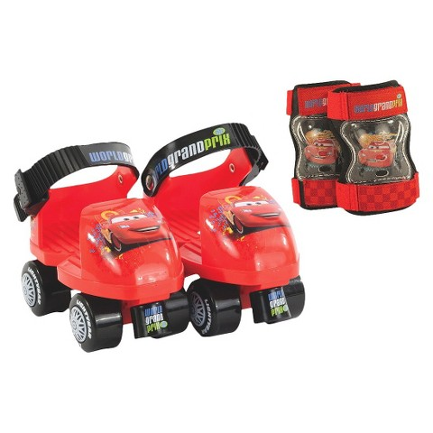 Disney Cars Jr Skate with Knee Pads - Red/ Black (Child Sz 6-12)
