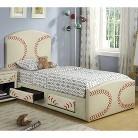 Upholstered Kid Bed - Red/ White (Full)