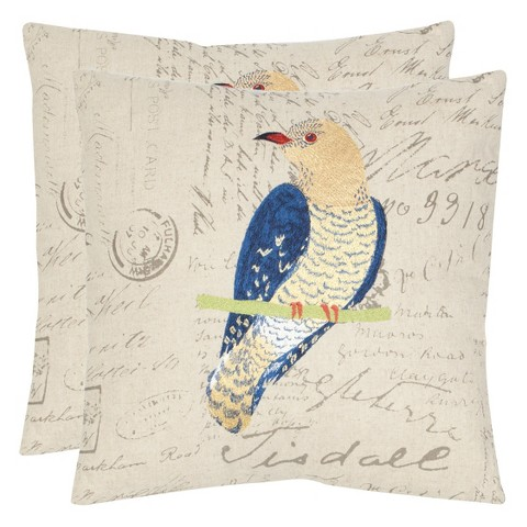 Safavieh 2-Pack Papilio Bird Toss Pillows - Blue/Cream