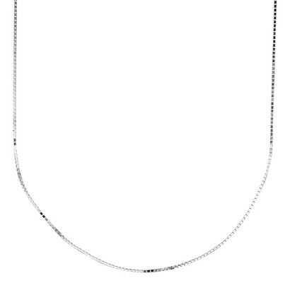 10k White Gold Box Chain Necklace
