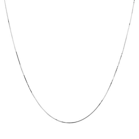 10k White Gold Box Chain Necklace