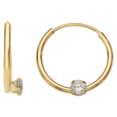 14k Yellow Gold with Clear Cubic Zirconia Children's Endless Hoop Earrings