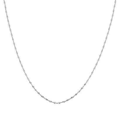 10k White Gold Singapore Chain Necklace