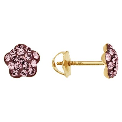 14k Gold Children's Crystal Flower Shaped Earrings with Light Rose