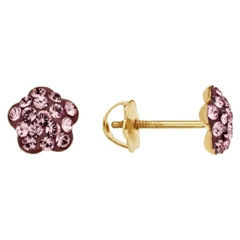 14K Gold Children's Crystal Flower Shaped Earrings with Light Rose