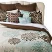 Anya 8 Piece Floral Print Bedding Set - Blue/Brown