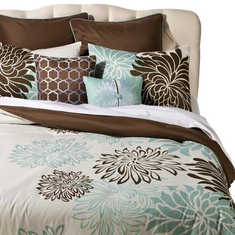 Anya 8 Piece Floral Print Bedding Set - Blue/Brown : Target