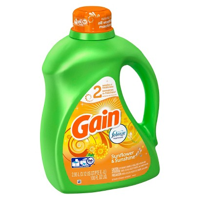 Gain Febreze Sunflower & Sunshine Scent Liquid Laundry Detergent - 100 oz