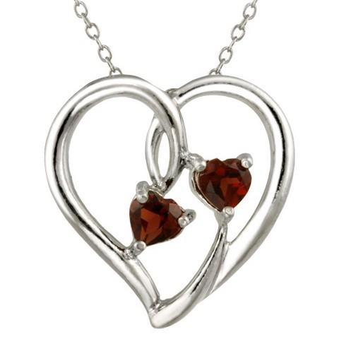 Sterling Silver Garnet Hearts Necklace