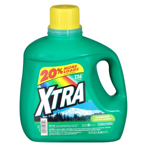 Xtra Liquid Laundry Detergent Mountain Rain- 116 Loads (175 oz)