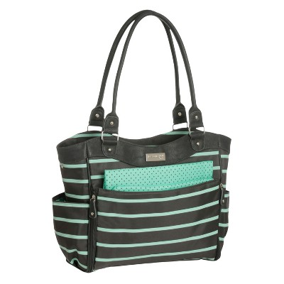 Carters JOY Zip Down Front Fashion Tote Diaper Bag - Grey/Mint Green Stripe