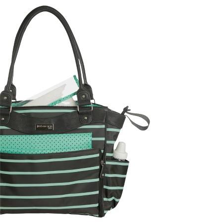 carter 39 s joy zip down front fashion tote diaper bag grey mint green stripe target. Black Bedroom Furniture Sets. Home Design Ideas