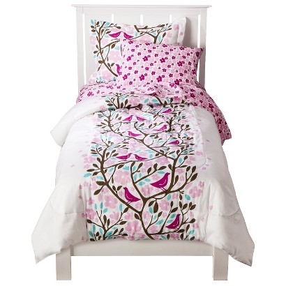 Birds in Trees Comforter Set - Pink/White (Twin)