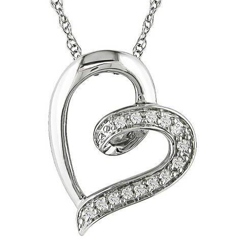 10K White Gold 0.06ct  Diamond Heart Pendant with Chain