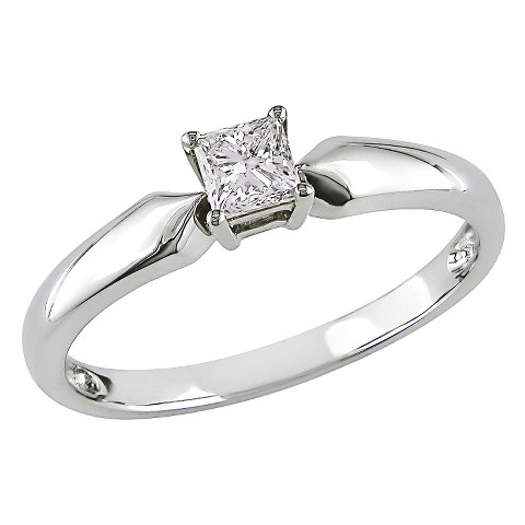 Diamond Solitaire Ring - White