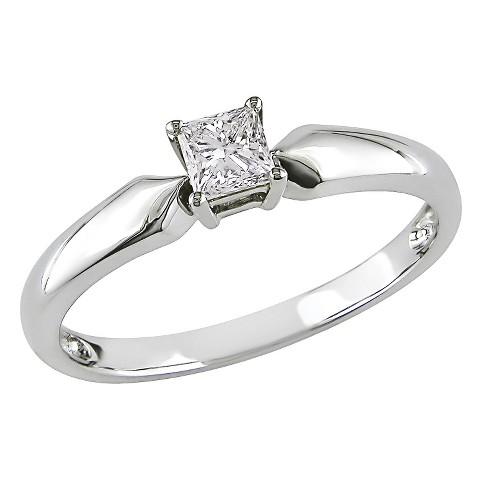 Diamond Solitaire Ring - White
