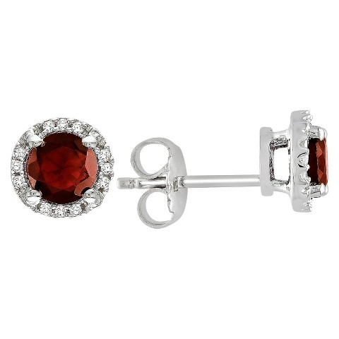 Allura  1.23 CT. T.W. Garnet and Diamond Stud Earrings in Sterling Silver