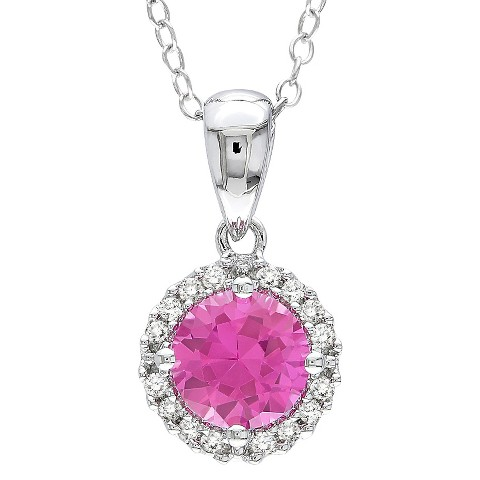 Allura Created Pink Sapphire and Diamond Pendant in Sterling Silver