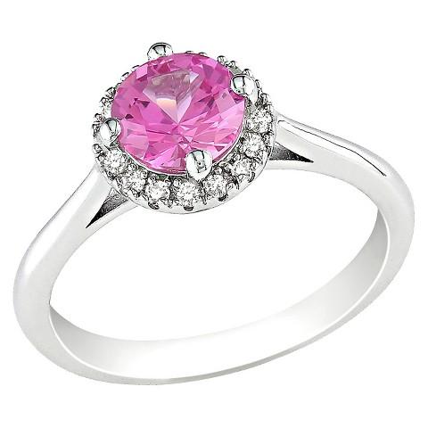Diamond & Created Pink Sapphire Ring - Pink