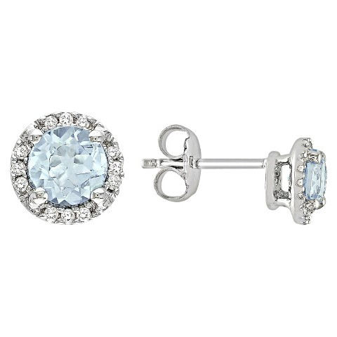 Allura  1.13 CT. T.W. Blue Topaz and Diamond Accent Stud Earrings in Sterling Silver(I3)