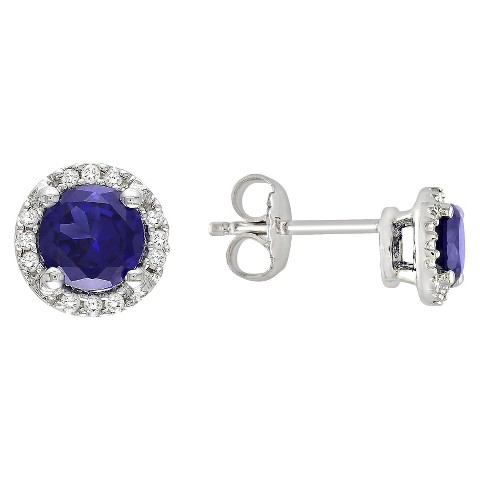 Sterling Silver Created Blue Sapphire and Diamond  Earrings