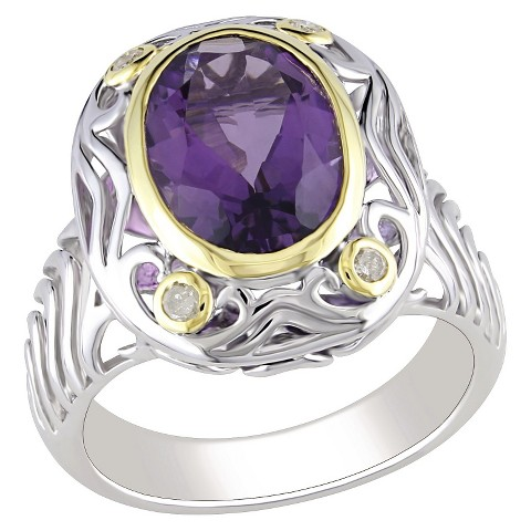 Diamond & Amethyst Ring Silver - Purple