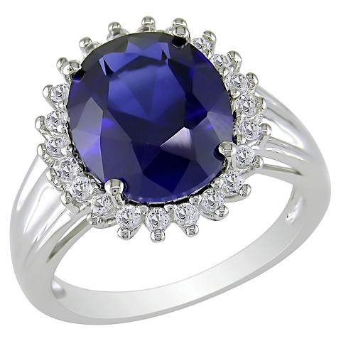 Created Sapphire White Topaz Ring - Blue
