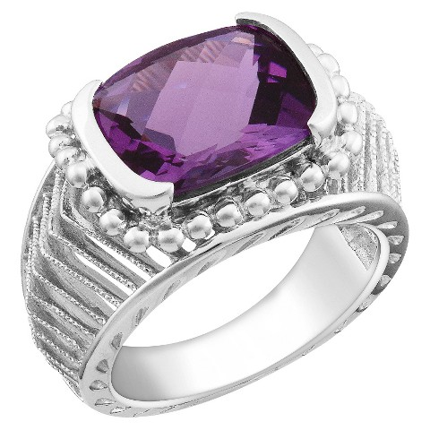 Amethyst Fashion Ring Silver - Purple