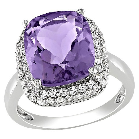 Amethyst & Created Sapphire Ring - Purple