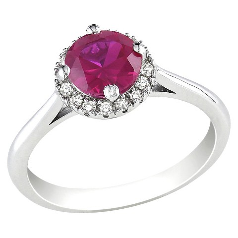 Diamond & Created Ruby Ring - Red